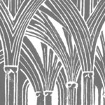 A monochrome linocut print of Wells Cathedral retrochoir