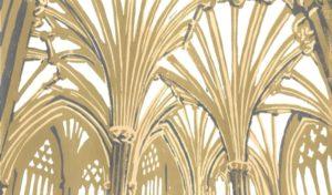 A three colour linocut print of Wells Cathedral retrochoir