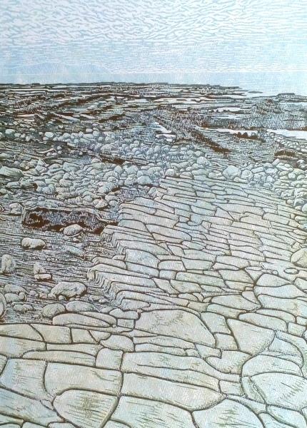 Kilve Beach Linocut print